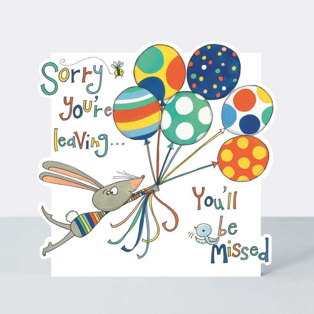 Cute Mouse & Balloons Leaving Card - SORRY You're LEAVING -Leaving CARDS -