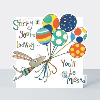 Cute Mouse & Balloons Leaving Card - SORRY You're LEAVING -Leaving CARDS - Leaving WORK Cards - LEAVING Card WISHES