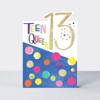 13th Birthday Cards Girl - 13 TEEN QUEEN - 13th BIRTHDAY Cards - TEENAGE GIRL - 13th BIRTHDAY Cards For DAUGHTER - Granddaughter - NIECE