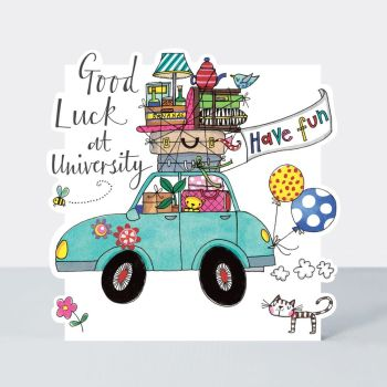Good Luck At University Cards - HAVE FUN - Good LUCK At UNI Cards - FUNNY Good Luck CARDS - University CARDS - Cute CATS & CAR Uni CARD