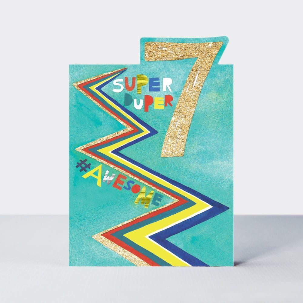 7th Birthday Cards Boy - SUPER DUPER 7 - 7th BIRTHDAY Cards - 7th BIRTHDAY