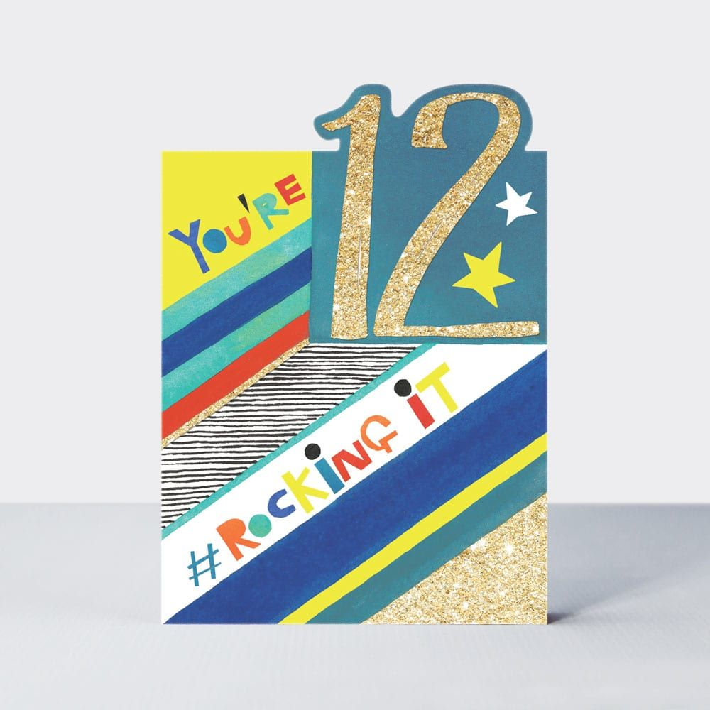 12th Birthday Cards Boy - 12 YOU'RE ROCKING It - 12th BIRTHDAY Cards - 12th