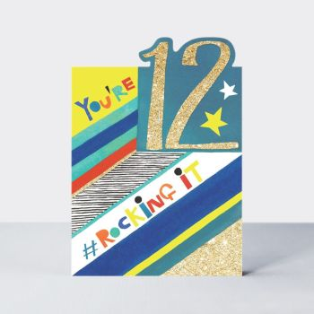 12th Birthday Cards Boy - 12 YOU'RE ROCKING It - 12th BIRTHDAY Cards - 12th BIRTHDAY Cards For SON - Grandson - NEPHEW - Stepson - COUSIN