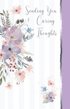 Floral Sympathy Cards - SENDING You CARING Thoughts - CONDOLENCE Cards - BEREAVEMENT Cards - SYMPATHY Cards - OPEN Sympathy CARDS