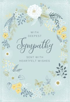 Deepest Sympathy Cards - SENT With HEARTFELT Wishes - OPEN Sympathy CARD - Condolence CARDS - Bereavement CARDS - Pretty SYMPATHY Card