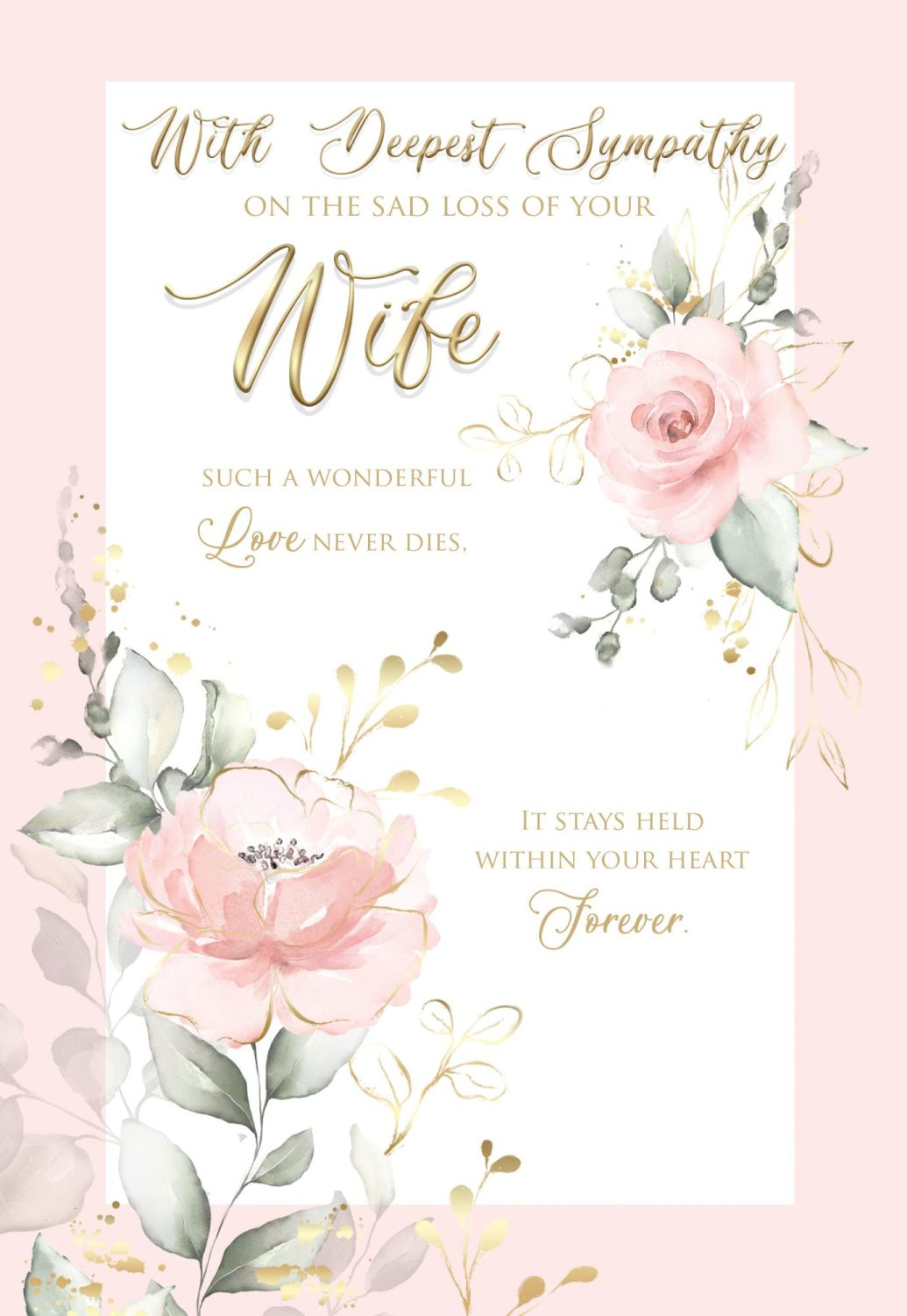 Wife Sympathy Cards - With DEEPEST Sympathy On THE Sad Loss Of YOUR WIFE -