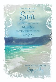 Beloved Son Sympathy Cards - LOVING Times With A Beloved SON - Seaview SYMPATHY Card - CONDOLENCE Cards - BEREAVEMENT Cards