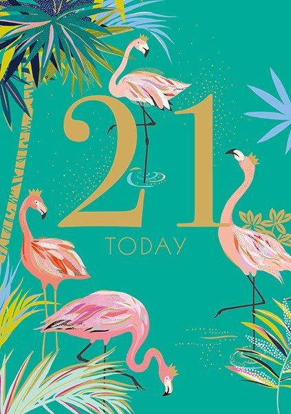 21st Birthday Cards - 21 TODAY - FABULOUS Flamingo 21ST BIRTHDAY Card - 21s