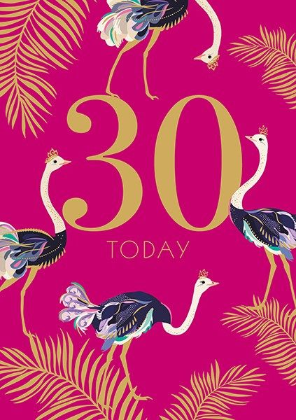 30th Birthday Cards - 30 TODAY - STRIKING Ostriches 30TH BIRTHDAY Card - 30