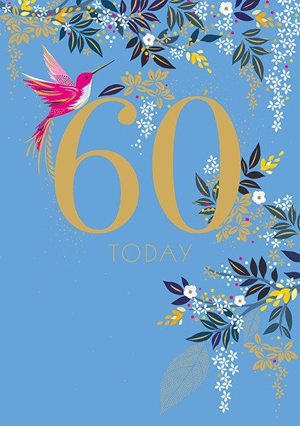 60th Birthday Cards - 60 TODAY - HUMMING Bird 60TH BIRTHDAY Card - 60th BIR