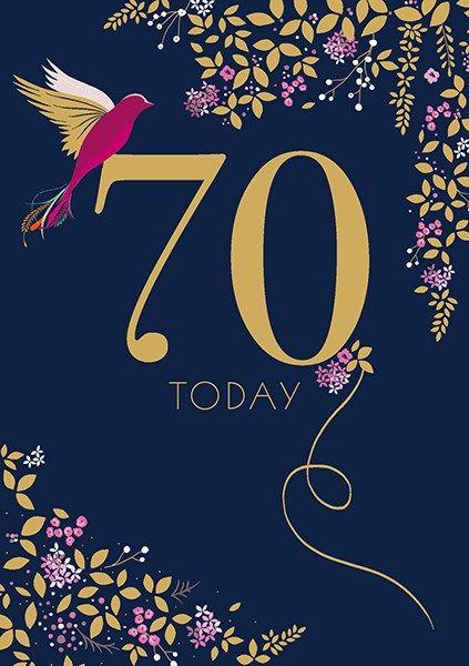 70th Birthday Cards - 70 TODAY - HUMMING Bird 70TH BIRTHDAY Card - 70th BIR