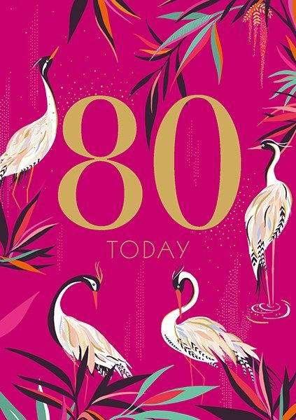 80th Birthday Cards - 80 TODAY - MAJESTIC Herons 80TH BIRTHDAY Card - 80th