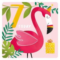 7th Birthday Cards Girl - 7 TODAY - Cute Party FLAMINGO BIRTHDAY Card - 7th BIRTHDAY Card For DAUGHTER - Granddaughter - NIECE
