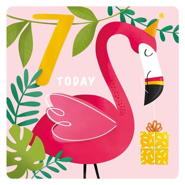7th Birthday Cards Girl - 7 TODAY - Cute Party FLAMINGO BIRTHDAY Card - 7th