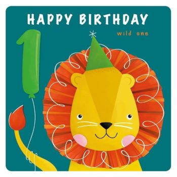 1st Birthday Cards Boy - 1 HAPPY Birthday - Cute LION & Balloon BIRTHDAY Card - 1st BIRTHDAY Card For SON - Grandson - NEPHEW