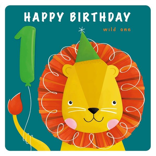1st Birthday Cards Boy - 1 HAPPY Birthday - Cute LION & Balloon BIRTHDAY Ca