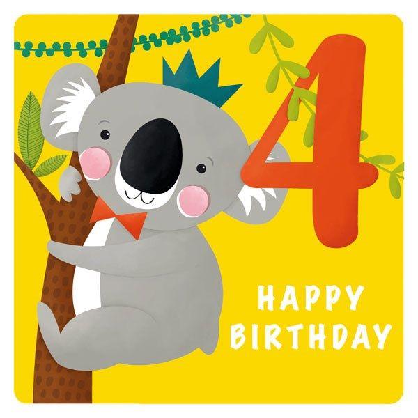 4th Birthday Cards - 4 HAPPY Birthday - Cute KOALA BIRTHDAY Card - 4th BIRT