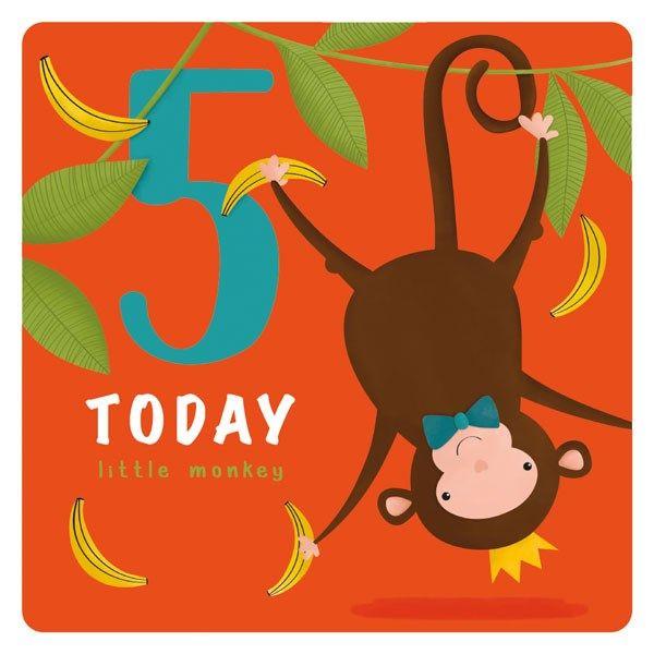 5th Birthday Cards Boy - 5 TODAY Little MONKEY - Cute MONKEY Birthday CARD