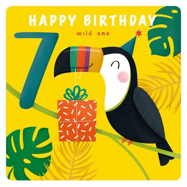 7th Birthday Cards Boy - 7 HAPPY Birthday WILD One - Cute TOUCAN & Present