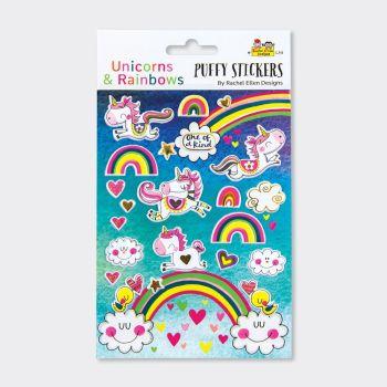 Unicorn & Rainbows Puffy Stickers - PUFFY Stickers - Childrens STICKERS - Kids STICKERS - Kids CRAFT Supplies - UNICORNS & RAINBOWS Stickers