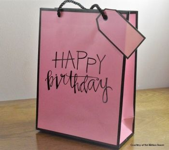 Gift Bags Birthday - Small PORTRAIT Gift BAG - Pink GIFT Bags - BIRTHDAY Gift BAGS With TAG -  Gift BAGS For HER Birthday