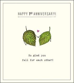 Funny 1st Wedding Anniversary Cards - HAPPY 1st ANNIVERSARY - So GLAD You FELL For EACH Other - 1st WEDDING Anniversary CARDS - Anniversary CARDS