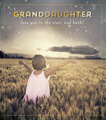 Granddaughter Birthday Cards - LOVE You To The STARS & BACK - Birthday Card