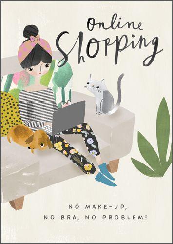 Shopping Birthday Cards - No MAKE-UP NO Bra No PROBLEM - Shopping Birthday