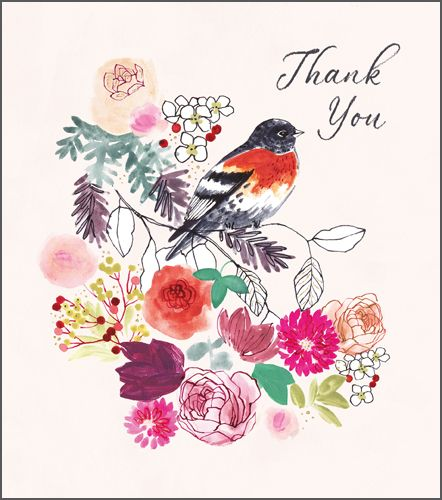 Thank You Cards - THANK YOU - Pretty FLORAL Thank YOU CARD - Thank You GREE