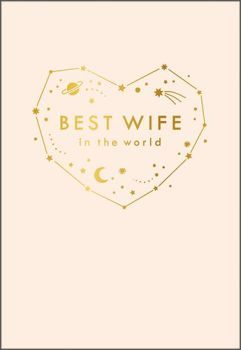 Best Wife In The World Birthday Cards - WIFE Birthday CARDS - Stars & MOON Birthday CARD - Cute PINK Birthday CARD For WIFE