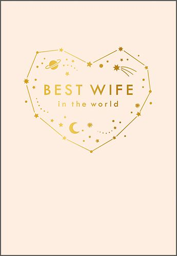 Best Wife In The World Birthday Cards - WIFE Birthday CARDS - Stars & MOON