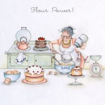 Cakes & Baking Birthday Cards - FLOUR POWER - Baking CARD - FUNNY Baking CARDS For Gran - DAUGHTER - Mum - AUNTY - Friend