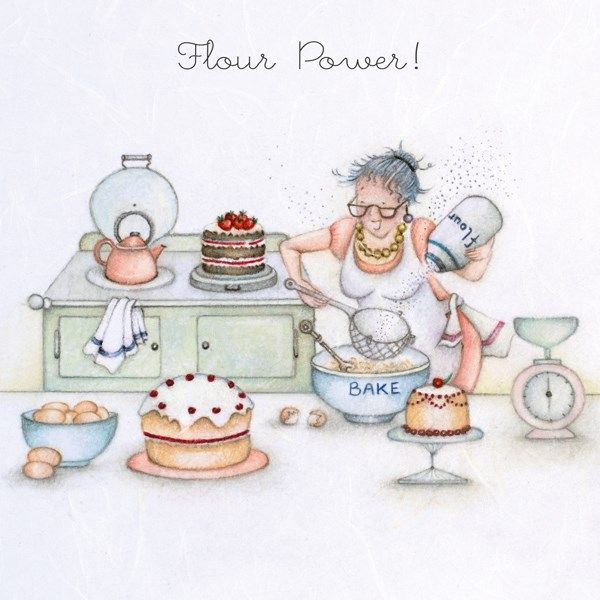 Cakes & Baking Birthday Cards - FLOUR POWER - Baking CARD - FUNNY Baking CA