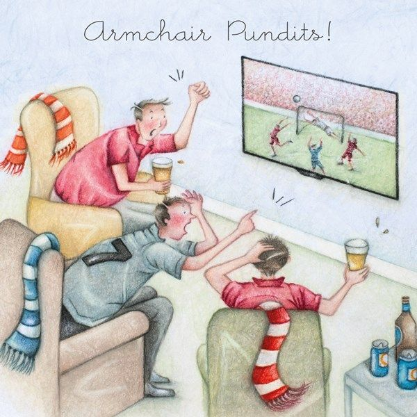 Funny Football Birthday Cards - ARMCHAIR Pundits - FOOTBALL Birthday CARDS