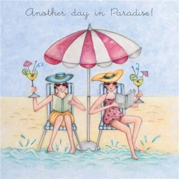 Beach Birthday Cards - ANOTHER Day In PARADISE - Day At THE Beach GREETING Card - COCKTAILS Card - BIRTHDAY Card FOR BEST Friend - FRIEND - SISTER
