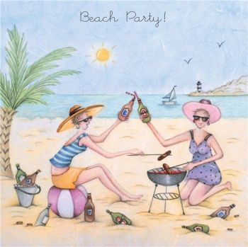 Beach Birthday Cards - BEACH PARTY - Day At THE Beach GREETING Card - BEER & BBQ Birthday Card - BIRTHDAY Card FOR BEST Friend - Cousin - SISTER