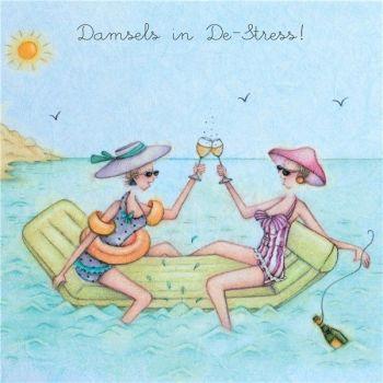 Beach Birthday Cards - DAMSELS In DE-STRESS - Day At THE Beach GREETING Card - BIRTHDAY Cards - BIRTHDAY Card FOR BEST Friend - FRIEND - SISTER