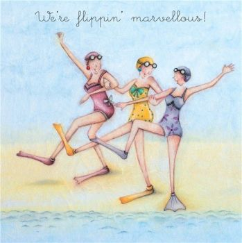 Beach Birthday Cards - We're FLIPPIN Marvellous - Day At THE Beach GREETING Card - BEST Friends Birthday Cards - BIRTHDAY Card FOR BEST Friends