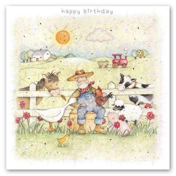 Farmyard Birthday Cards - HAPPY Birthday -  Farm Animals Card - Childrens B