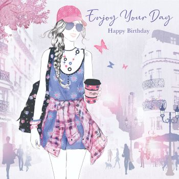 Beautiful Birthday Card For Her - ENJOY Your DAY - GIRL Sightseeing - Birthday CARD For DAUGHTER - Granddaughter - NIECE - Great GRANDDAUGHTER