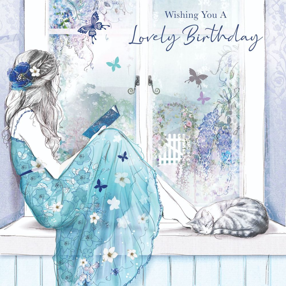 Beautiful Birthday Card For Her - WISHING You A LOVELY Birthday - GIRL Dayd