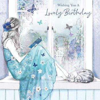 Beautiful Birthday Card For Her - WISHING You A LOVELY Birthday - GIRL Daydreaming - Birthday CARD For DAUGHTER - Granddaughter - NIECE - Friend