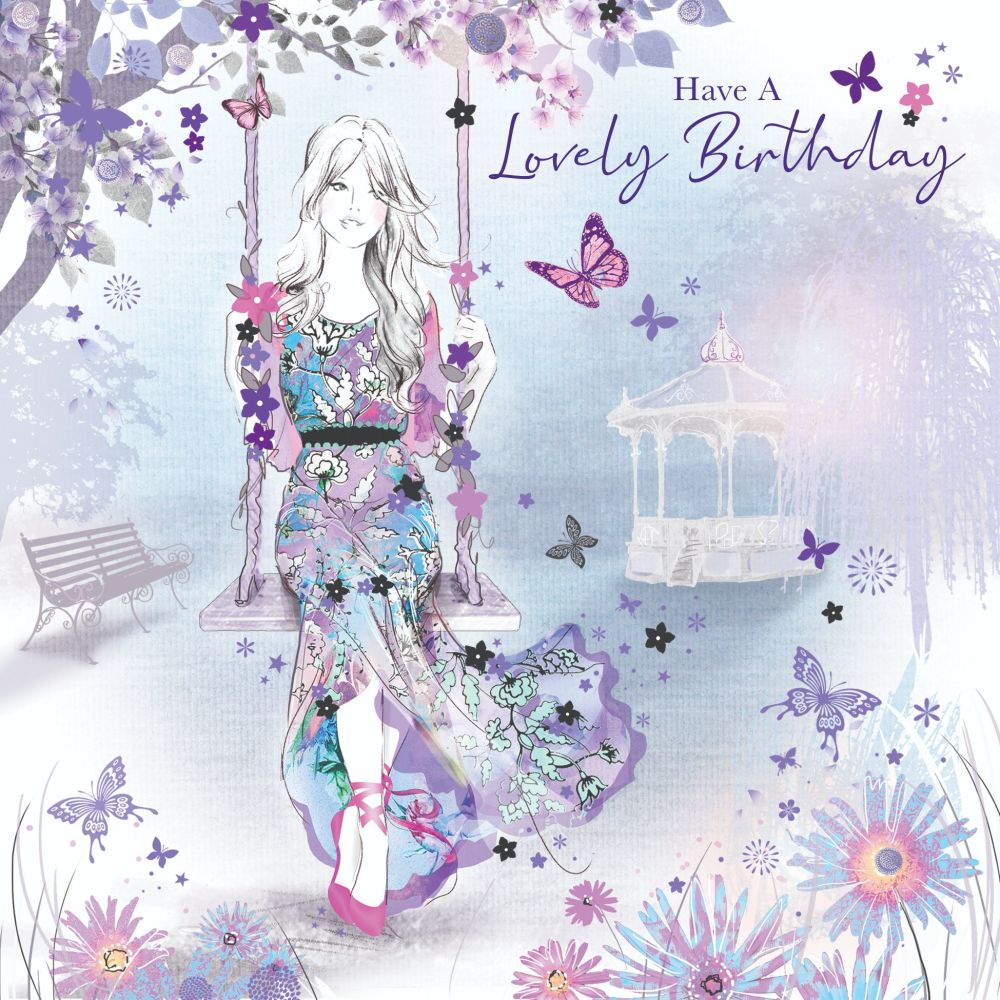 Beautiful Birthday Card For Her - Have A LOVELY Birthday - GIRL On A SWING