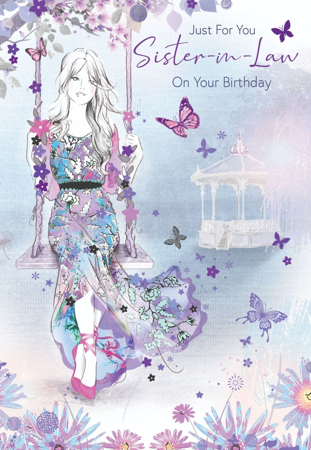 Sister In Law Birthday Cards - JUST For YOU - Pretty BIRTHDAY Card For SIST