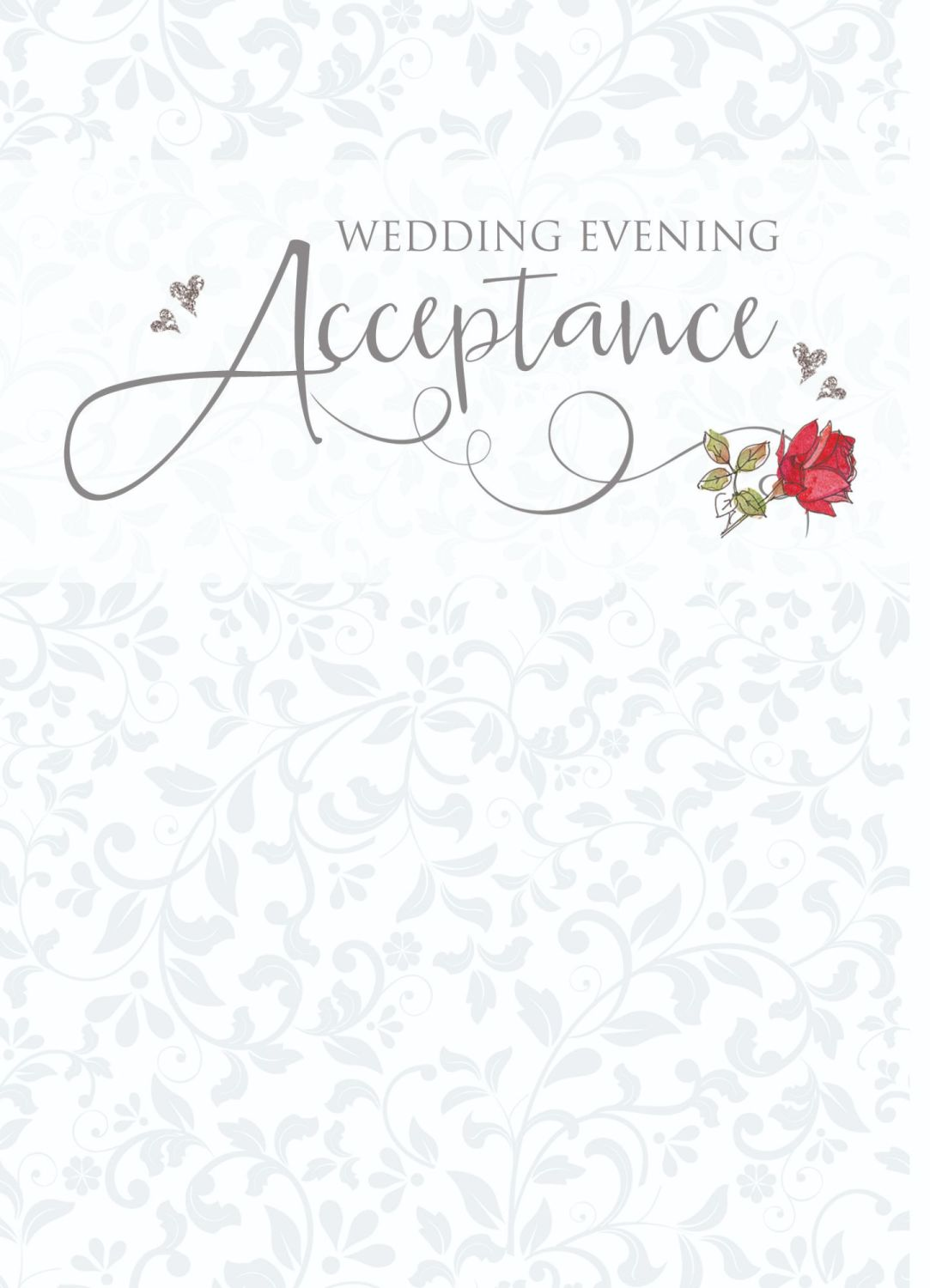 Wedding Acceptance Cards - WEDDING Evening ACCEPTANCE - Beautiful RED Rose
