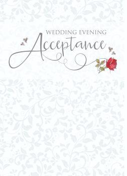 Wedding Acceptance Cards - WEDDING Evening ACCEPTANCE - Beautiful RED Rose ACCEPTANCE Card - WEDDING RSVP Cards - WEDDING Acceptance