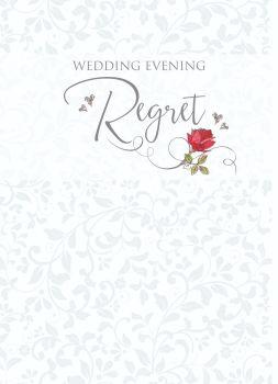Wedding Regret Cards - WEDDING Evening REGRET - Beautiful RED Rose REGRET Card - WEDDING RSVP Cards - WEDDING Regret