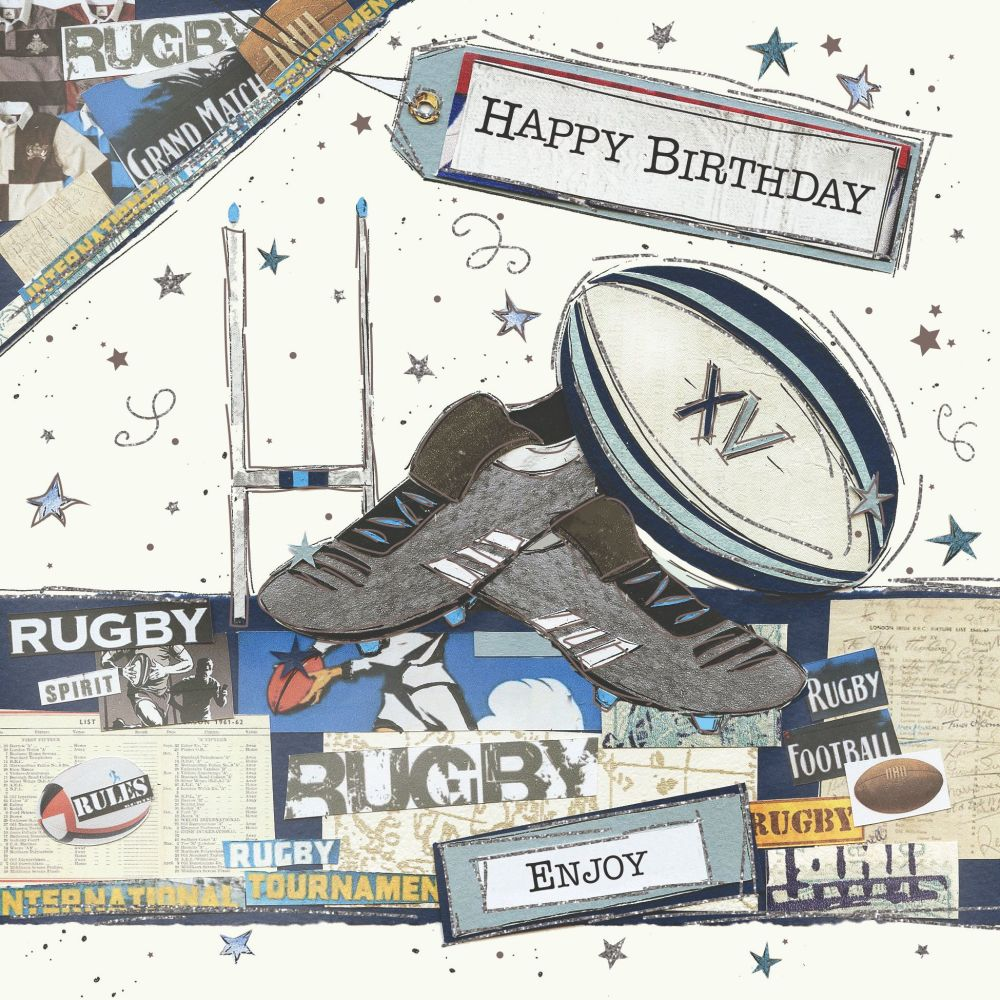 Rugby Birthday Cards - HAPPY BIRTHDAY - Rugby CARD - Card FOR Him - RUGBY B