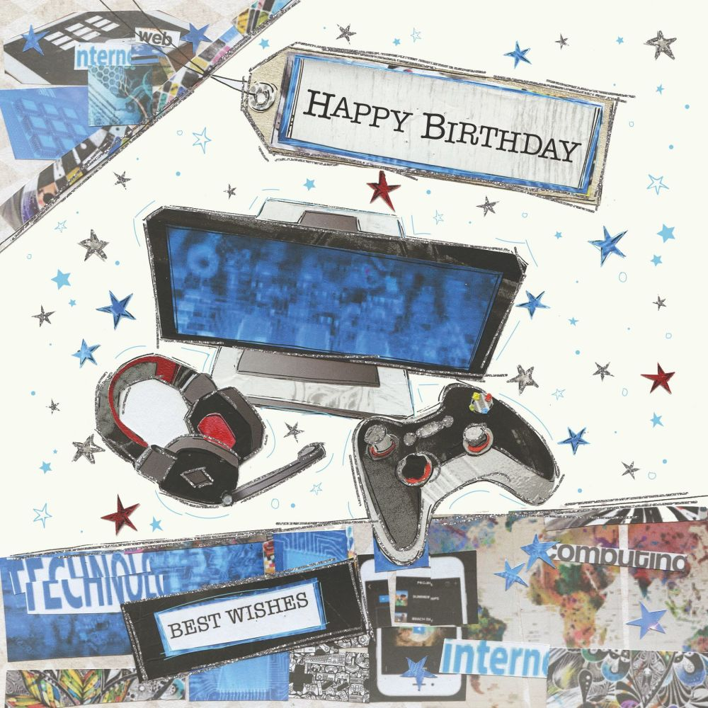 Gamer Birthday Cards - HAPPY BIRTHDAY - Gaming BIRTHDAY Cards - COMPUTER &