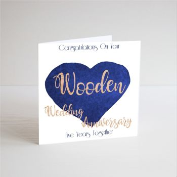 5th Anniversary Cards - HANDMADE CARD - Wood ANNIVERSARY - Five YEARS Together - 5th WEDDING Anniversary CARDS - 5th ANNIVERSARY